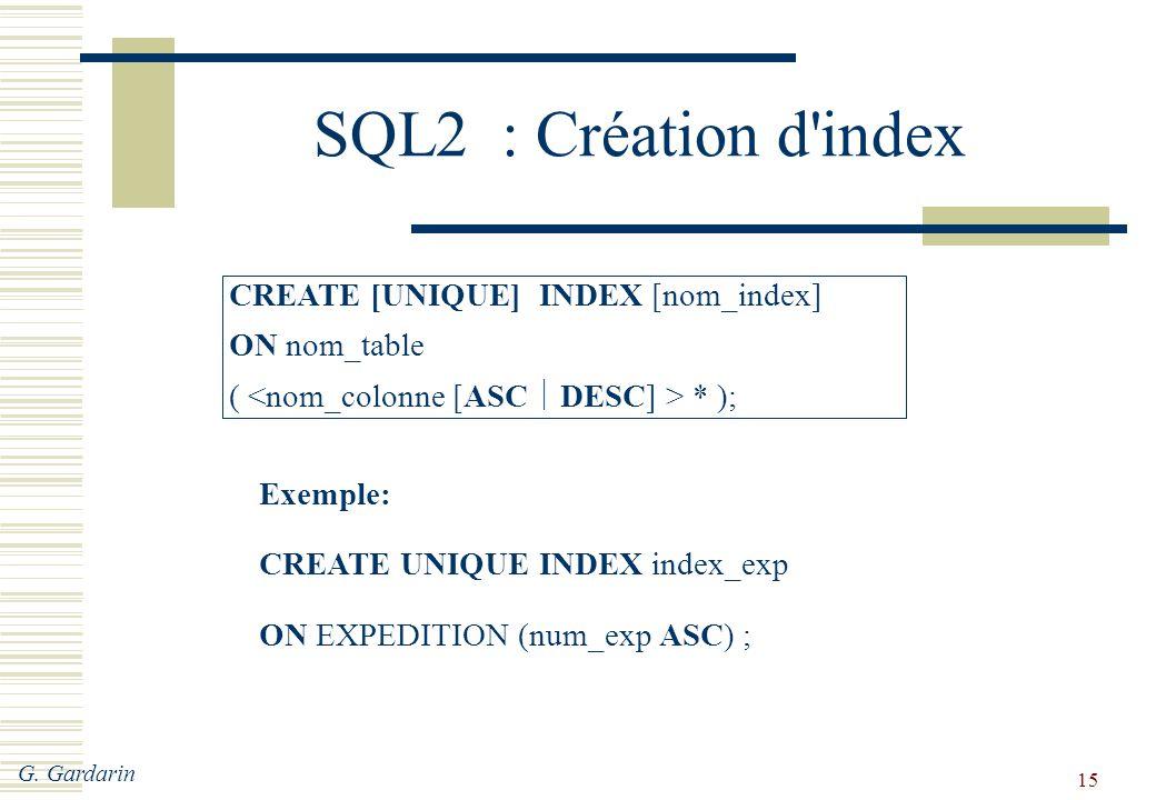 SQL2 : Création d index CREATE [UNIQUE] INDEX [nom_index] ON nom_table